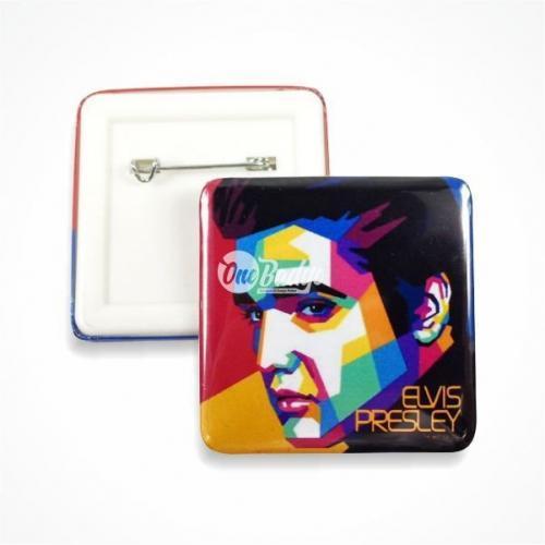 Square button badge Elvis