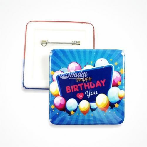 Square button badge birthday design