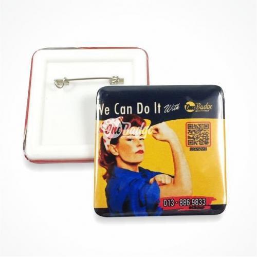 Square button badge retro design