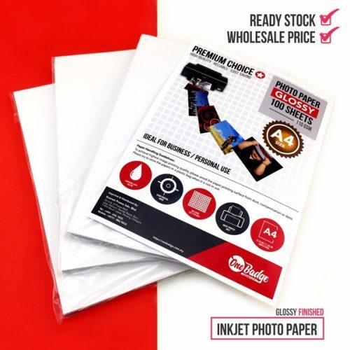 Glossy Inkjet Photo Paper -110 gsm (A4 Size-100pcs/pkt)