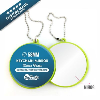 Custom Design & Print -Green Mirror Keychain 58mm