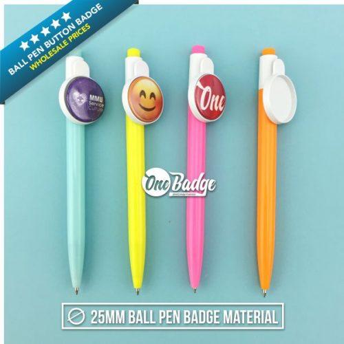 25mm Ball Pen Button Badge Material - 1