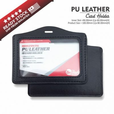 PU Leather Card Holder – Horizontal Black