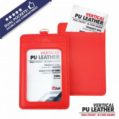 Double Slot PU Leather Card Holder