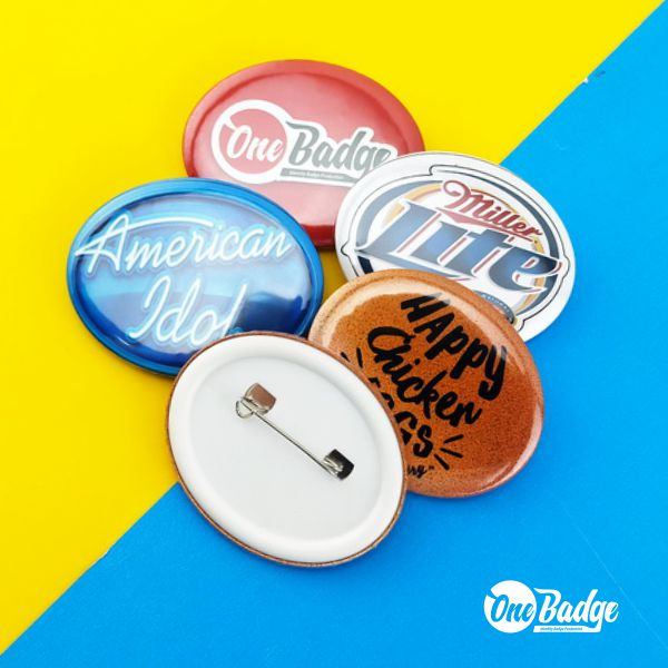 Oval Shape Button Badge With custom design and printing